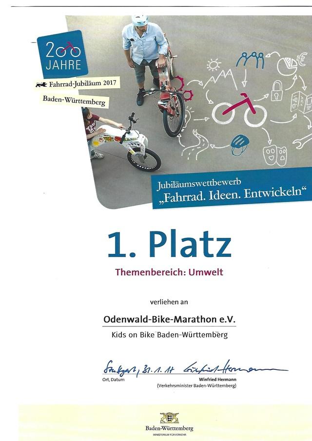 Urkunde KOB Sieger 2017 Radjubl.BW