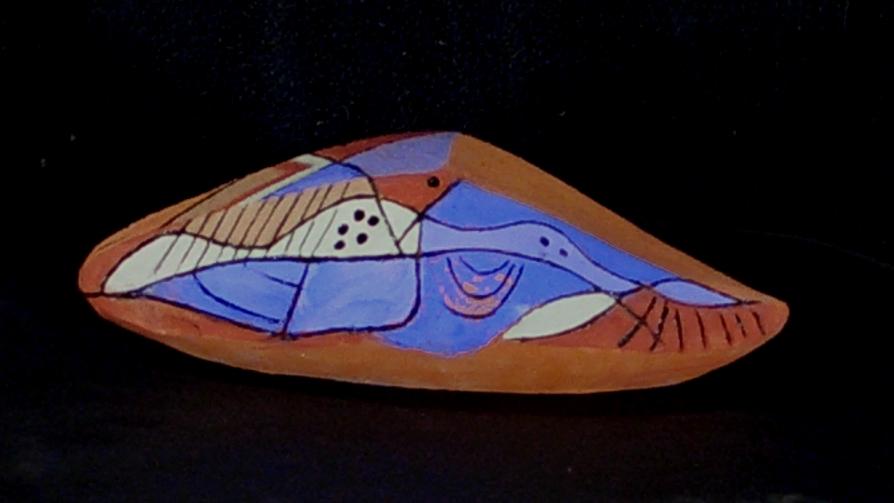 Riedel  Objekt Keramik bemalt Rückansicht
