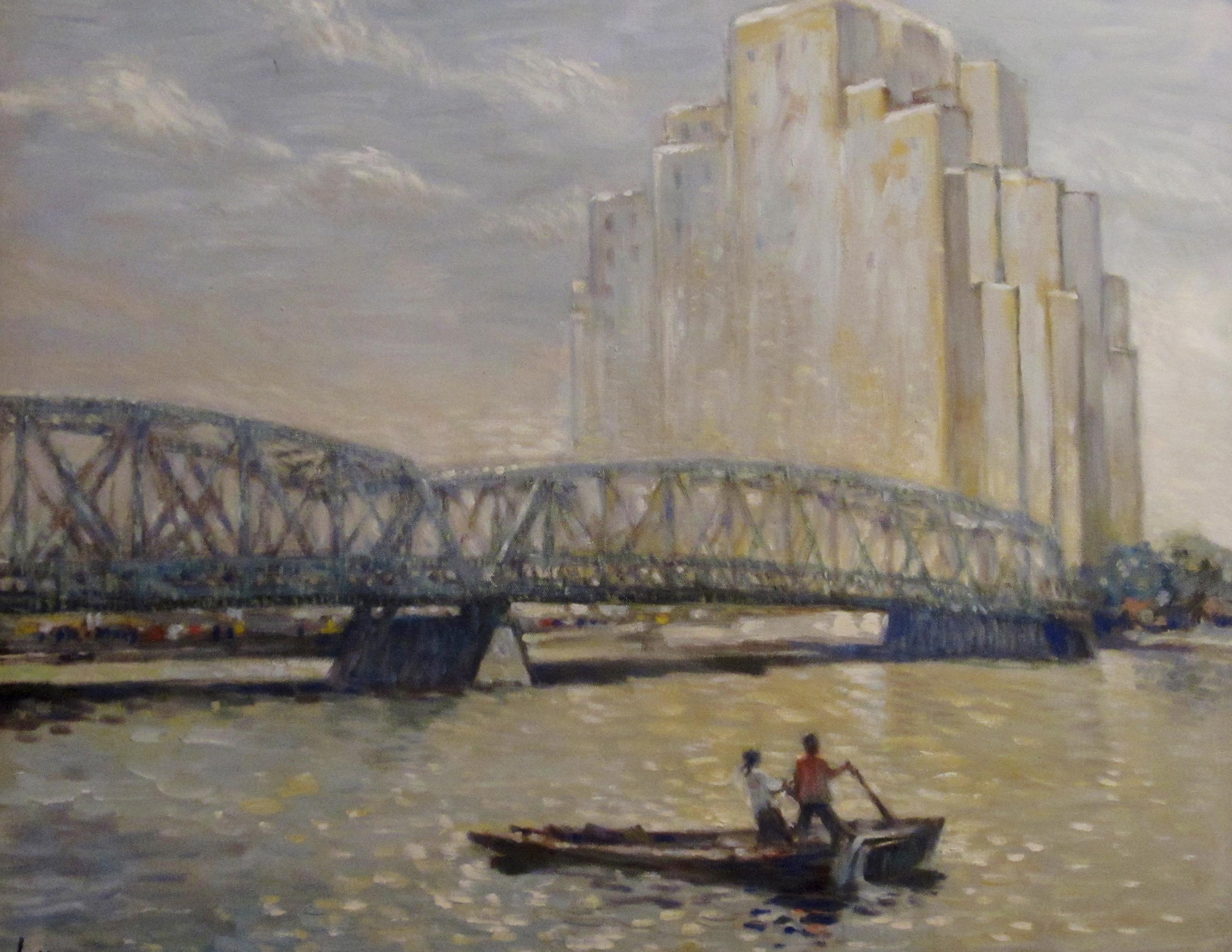 Die Garden Bridge und das Hotel Broadway Mansions vor dem Stadtteil Hongkew mit dem jüdischen Ghetto. Foto: Gemälde aus dem Nachlass John H. Less