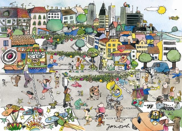 """Eine Illustration zum Thema Nachbarschaft des bekannten Künstlers Janosch, der auch zur Jury des """"Nachbar-Oscars"""" gehört. - Bild: Janosch/Netzwerk Nachbarschaft"""