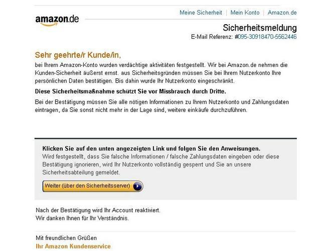 ludwigshafen mannheim metropolregion rhein neckar erneut amazon kunden von phishing. Black Bedroom Furniture Sets. Home Design Ideas