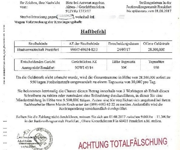 Bad Bergzabern Betrug Mittels Falschem Haftbefehl