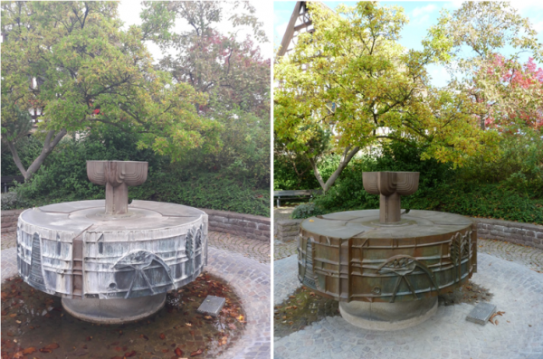 Schifferstadt – Rathaus-Brunnen macht sich herbstfein