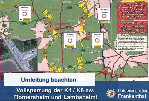 Frankenthal / Lambsheim – Vollsperrung der K 4 / K 6 zwischen Flomersheim und Lambsheim ab 18.10.