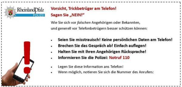 Birkenau / Kreis Bergstraße – Vorsicht! Enkeltrickbetrüger telefonieren die Bergstraße ab!