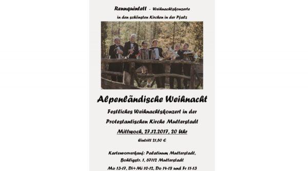 """Mutterstadt – Weihnachtlicher Abschluss des Jubiläums-Jahres mit einem Konzert des """"Rennquintetts"""""""