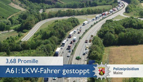 Worms – Die Autobahn war gerade noch breit genug: LKW-Fahrer mit fast 3,7 Promille aus dem Verkehr gezogen!