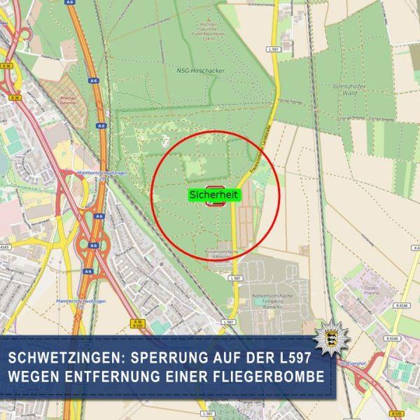 Schwetzingen –  L 597 wegen Entschärfung einer Bombe heute Morgen temporär gesperrt