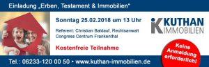 """Ludwigshafen – Info Veranstaltung """"Erben, Testament und Immobilien"""" von Kuthan-Immobilien am 25.02.1018"""