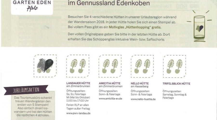 Edenkoben – Genussland Edenkoben –  Aktion Hüttenhopping  beginnt am 1.April 2018