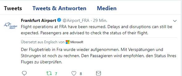 Frankfurt – Flughafen nimmt Betrieb wieder auf – Mit Verspätungen ...