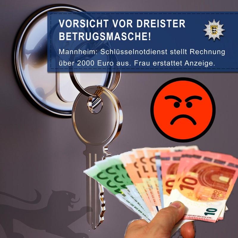 e0a4f47336cb7 Mannheim   Metropolregion Rhein-Neckar.(ots) – In der Neckarstadt ging am  Mittwochnachmittag eine 19-jährige Frau einem überteuerten  Schlüsselnotdienst auf ...
