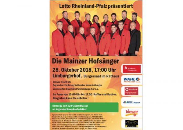 Limburgerhof – Mainzer Hofsänger am 28.10. im Gemeindezentrum zu Gast