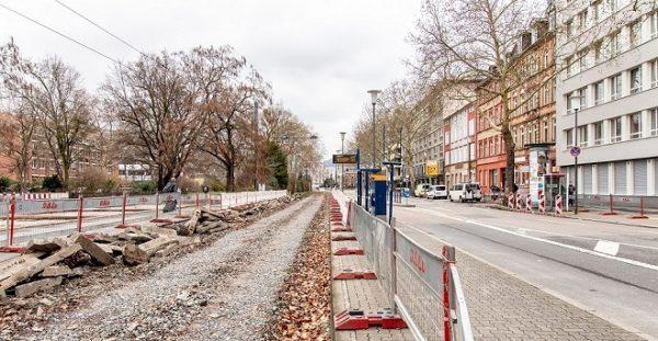 Heidelberg –  Gleiserneuerung zwischen Haltestelle Hauptbahnhof und Römerkreis beginnt