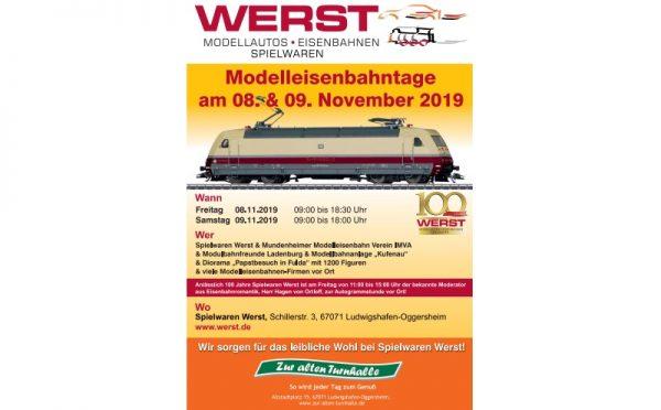 Ludwigshafen – Modelleisenbahntage 2019 bei Werst am 08. und 09. November 2019
