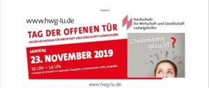 """Ludwigshafen – """"Tag der offenen Tür"""" am Samstag, dem 23.11.2019, von 10.00 bis 14.00 Uhr an der Hochschule für Wirtschaft und Gesellschaft Ludwigshafen"""