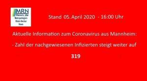 Mannheim – 27. aktuelle Information zum Coronavirus – Stand 5.04.2020 – 16:00 Uhr – Zahl der nachgewiesenen Corona-Fälle steigt auf 319