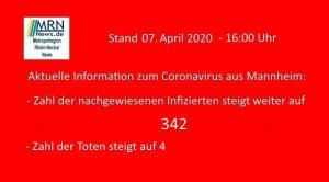 Mannheim – 31. Aktuelle Meldung zu Corona 07.04.2020 – 4. Todesfall in Mannheim – Zahl der nachgewiesenen Corona-Fälle steigt auf 342