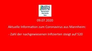 Mannheim – 127. Aktuelle Meldung zu Corona – Zahl der nachgewiesenen Corona-Fälle erhöht sich auf 520
