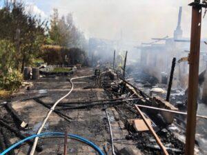 Mannheim – NACHTRAG-Friesenheimer Insel: 6 Gartenhäuser  in Brand geraten