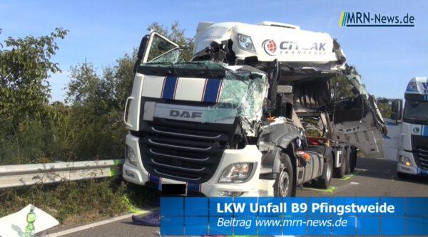 Ludwigshafen / Frankenthal – VIDEO NACHTRAG – Schwerer LKW Unfall B9 – Feuerwehr befreit eingeklemmten Fahrer