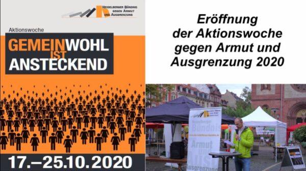 Heidelberg – Aktionswoche gegen Armut eröffnet – Heidelberger Bündnis veranstaltet zwischen 17. und 25. Oktober viele Mitmach- und Infoveranstaltungen – VIDEO