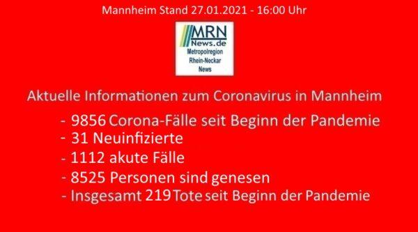 Mannheim – 330. Aktuelle Meldung zu Corona 27.01.2021 – Zahl der neu nachgewiesenen Coronavirus-Infektion sinkt weiter – Inzidenzzahl unter 100