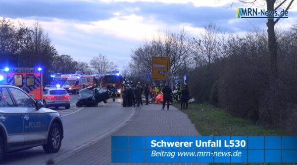 Ludwigshafen – VIDEO NACHTRAG – Schwerer Verkehrsunfall L530 zwischen Maudach und Mutterstadt