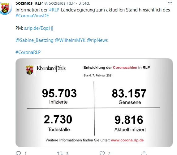 Ludwigshafen –  Inzidenzzahl in Lu  72,6 – Aktuelle Zahlen zu #Corona aus Rheinland-Pfalz