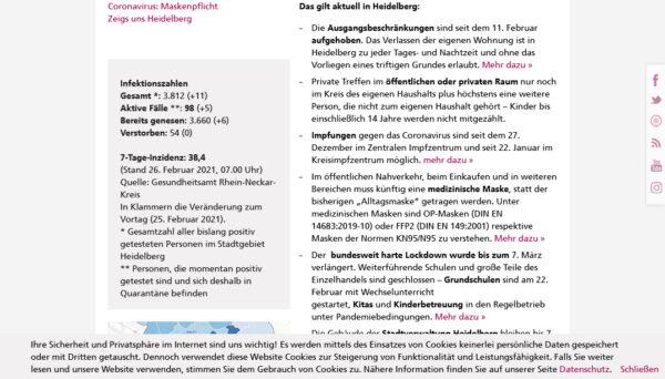 Heidelberg – Ein Jahr mit Corona: Aktuelle Informationen auf sieben städtischen Kanälen: Präsent in Stadtblatt, Info-Hotline und Online