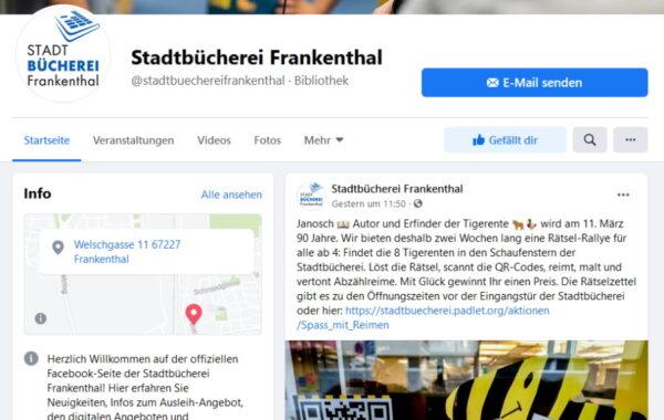 Frankenthal – Stadtbücherei startet eigenen Facebook-Kanal