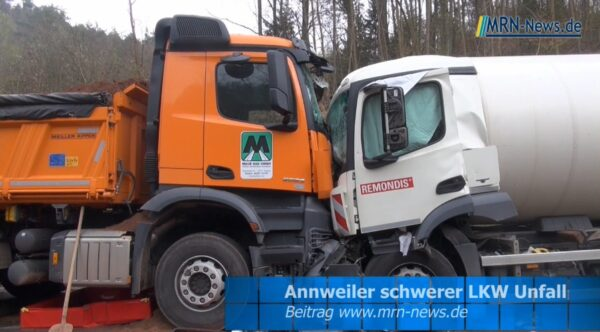 Landau – Annweiler – VIDEO NACHTRAG – Schwerer LKW Unfall B48