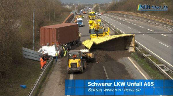 Landau / Mutterstadt  – VIDEO NACHTRAG – Schwerer LKW Unfall auf der A65 mit Vollsperrung