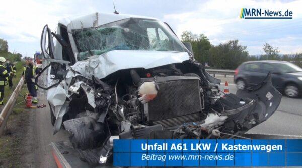 Mutterstadt – Ludwigshafen – VIDEO NACHTRAG – A61 Vollsperrung – LKW und Kastenwagen kollidieren
