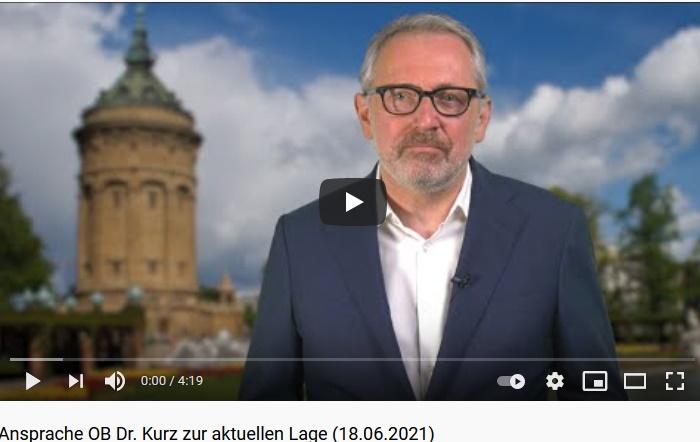 Mannheim – Videobotschaft von Oberbürgermeister Dr. Peter Kurz zur aktuellen Lage