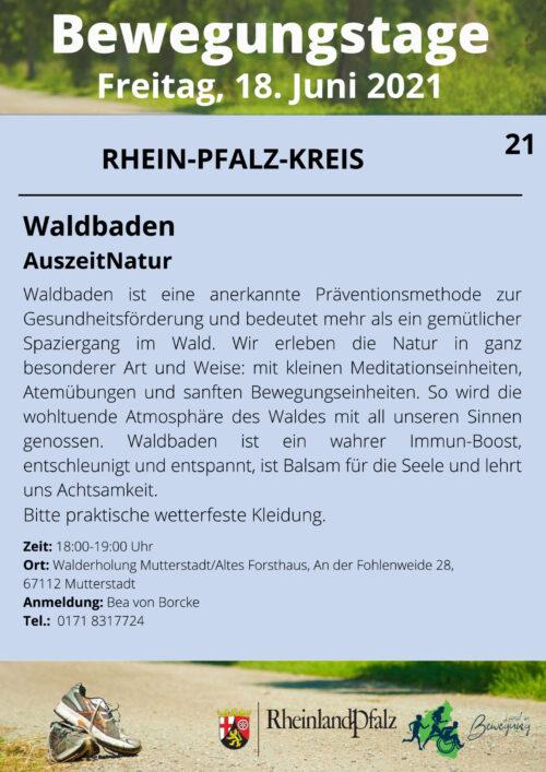 Rhein-Pfalz-Kreis – Waldbaden, der Beitrag in Mutterstadt zu den Bewegungstagen