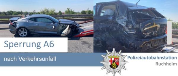 Frankenthal – Polizeiautobahnstation Ruchheim – Unfall mit Verletzten auf der A6 – Vollsperrung