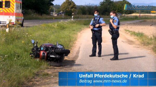 Rhein-Pfalz-Kreis – Pferdekutsche und Roller stoßen zusammen – Rettungshubschrauber im Einsatz