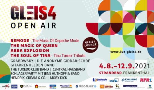 Frankenthal – Veranstaltungstipp: GLEIS4 OPEN AIR im Strandbad Frankenthal mit tollem Programm