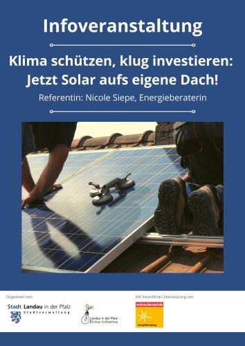 Landau – Mehr Solarenergie für Landau – Infoveranstaltung mit Energieberaterin am Mittwoch, 22. September, in Nußdorf