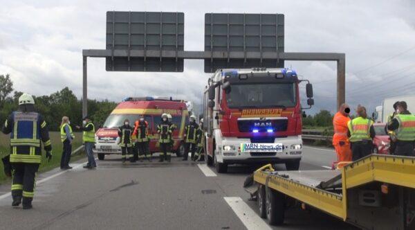 Lorsch – A 67 mehrere Stunden gesperrt – 6 verletzte Personen davon wurden 2 schwerverletzt