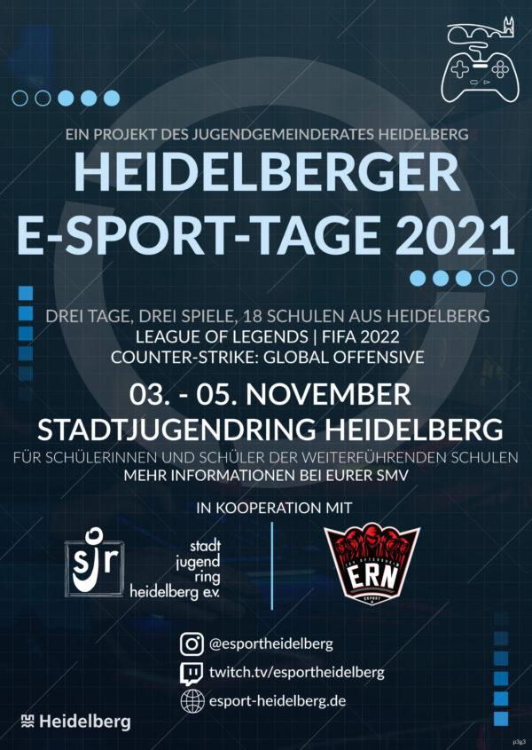 Heidelberg -Jugendgemeinderat veranstaltet großes E-Sport-Turnier in den Herbstferien! Schulteams können sich noch bis 8. Oktober über die SMV anmelden