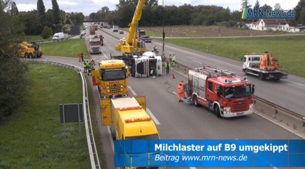 Ludwigshafen – VIDEO NACHTRAG – Vollsperrung B9 nach Tanklaster Unfall