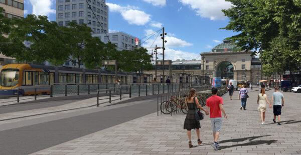 Mannheim – Bau der neuen Tiefgaragenausfahrt auf dem Bahnhofsvorplatz beginnt